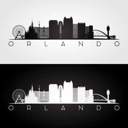 De horizon en de oriëntatiepuntensilhouet van de VS van Orlando, zwart-wit ontwerp, vectorillustratie.