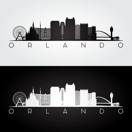 Silhouette de skyline et de points de repère d'Orlando Usa, design noir et blanc, illustration vectorielle.
