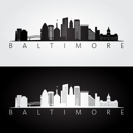 De horizon van Baltimore de VS en oriëntatiepuntensilhouet, zwart-wit ontwerp, vectorillustratie.