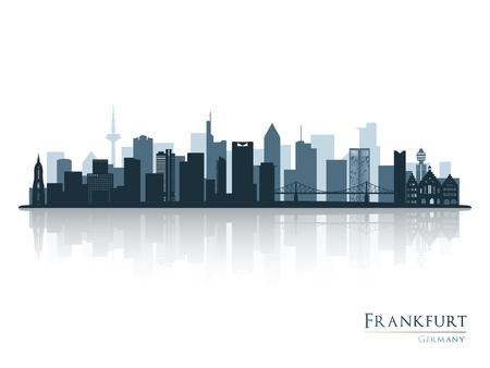 Frankfurt skyline silhouette with reflection. Vector illustration. Vetores
