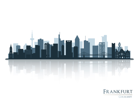 Frankfurt skyline silhouette with reflection. Vector illustration.