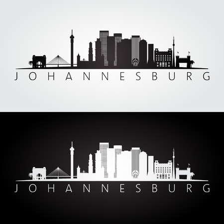 Johannesburg skyline and landmarks silhouette, black and white design, vector illustration. Illustration