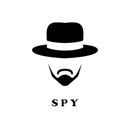 Spy man in hat and with a mustache. Detective icon.
