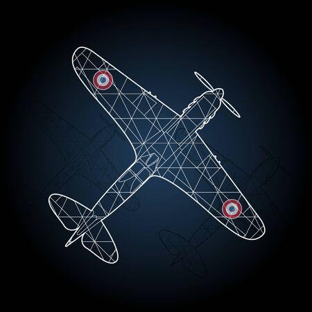 worl: Old war airplane. Retro France airplane illustration.