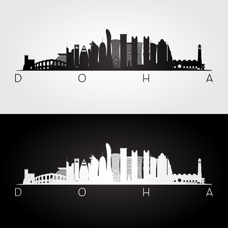 Doha skyline and landmarks silhouette, black and white design, vector illustration.