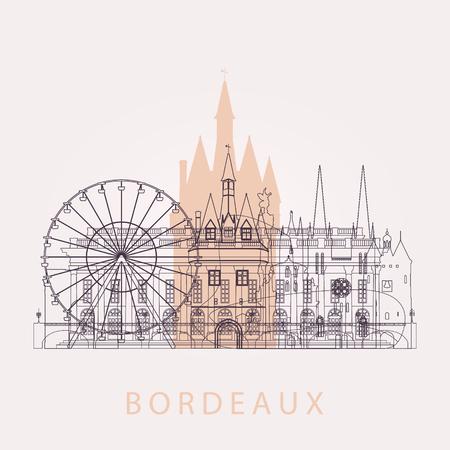 Delineare l'orizzonte di Bordeaux con punti di riferimento. Illustrazione vettoriale Viaggio d'affari e concetto di turismo con edifici storici. Vettoriali
