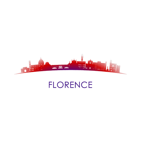 Florence, Italy skyline silhouette. Vector design city on white background.