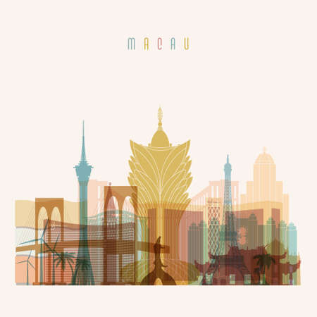 Transparent style. Macau skyline detailed silhouette. Trendy vector illustration.