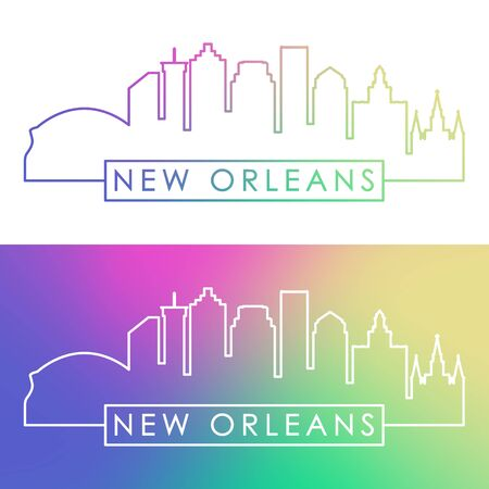 New Orlean skyline. Colorful linear style. Editable vector file.
