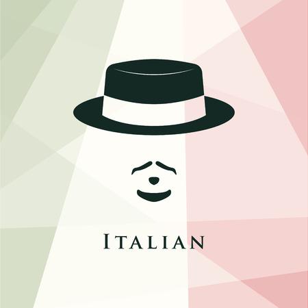 Italian men avatar. On italian flag background. Vector illustration. Illustration