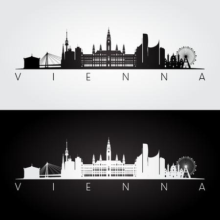 Siluetta dell'orizzonte e dei punti di riferimento di Vienna, progettazione in bianco e nero, illustrazione di vettore. Archivio Fotografico - 77474853