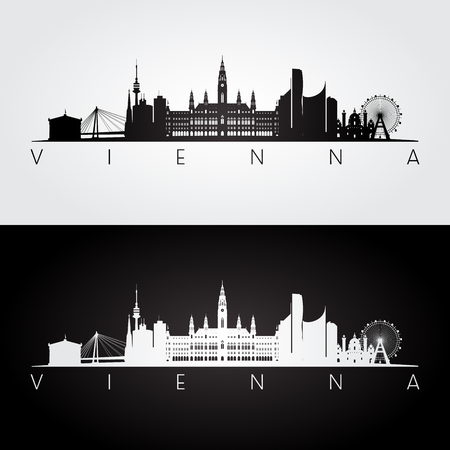 Vienna skyline and landmarks silhouette, black and white design, vector illustration. Vettoriali