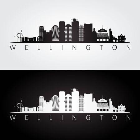 De horizon van Wellington en oriëntatiepuntensilhouet, zwart-wit ontwerp, vectorillustratie. Vector Illustratie