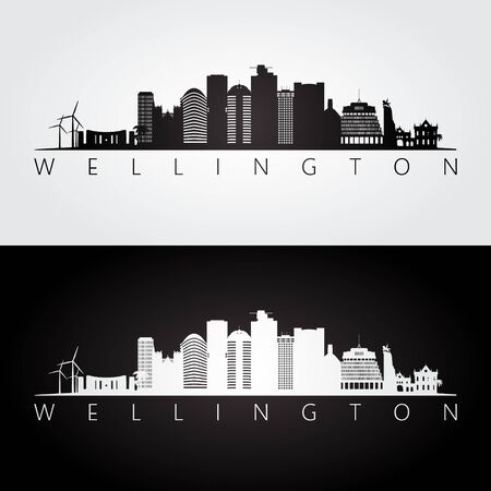 Wellington skyline and landmarks silhouette, black and white design, vector illustration. Иллюстрация