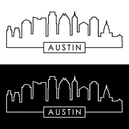 Austin skyline. Linear style. Editable vector file.