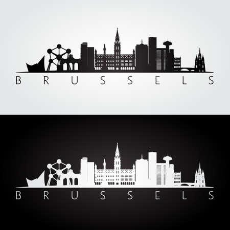 ブリュッセルのスカイラインとランドマークのシルエット、黒と白のデザイン、ベクトル イラストです。
