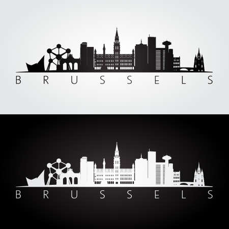 Van Brussel horizon en oriëntatiepunten silhouet, zwart-wit ontwerp, vectorillustratie. Vector Illustratie