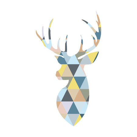 Deer head formed by triangular multicolored shapes. Scandinavian style.