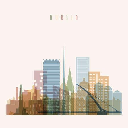 irish landscape: Transparent style. Dublin skyline detailed silhouette. Trendy vector illustration.