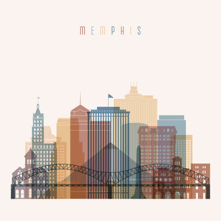 Transparent style. Memphis state Tennessee skyline detailed silhouette. Trendy vector illustration.