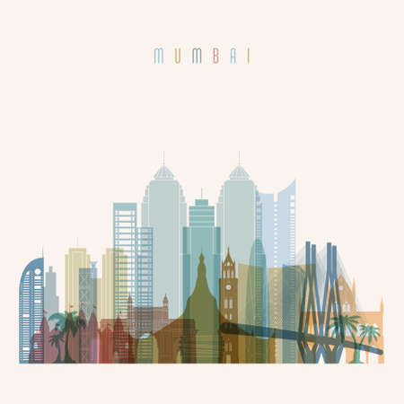 Transparent style. Mumbai skyline detailed silhouette. Trendy vector illustration. Illustration