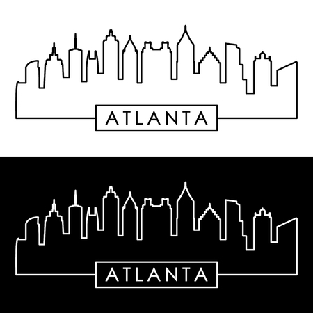 Atlanta skyline. Linear style. Editable vector file. Ilustracja