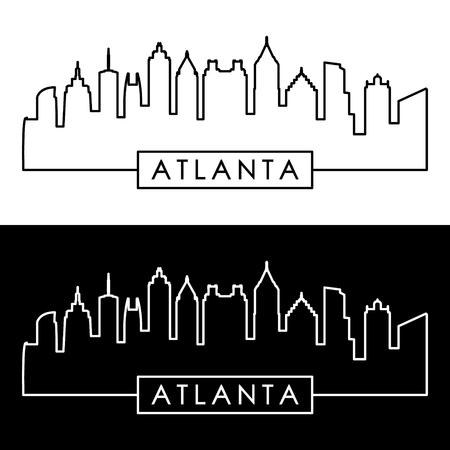 Skyline van Atlanta. Lineaire stijl. Bewerkbare vectorbestand. Stock Illustratie