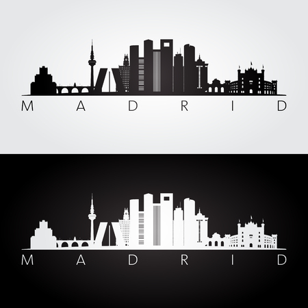Madrid skyline and landmarks silhouette, black and white design, vector illustration.