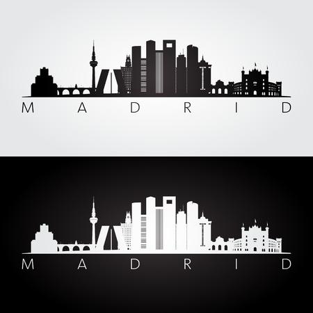 Madrid skyline and landmarks silhouette, black and white design, vector illustration.