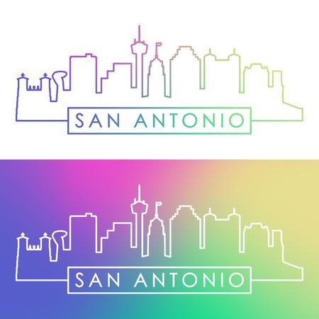 San Antonio skyline. Colorful linear style. Editable vector file.