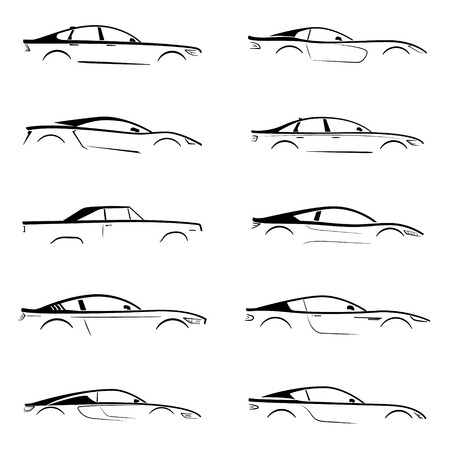 slhouette: Set of a black slhouette car on white background. Vector illustration. Illustration