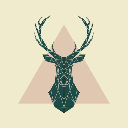 Deer green geometric sign . Vector illustration. 矢量图像