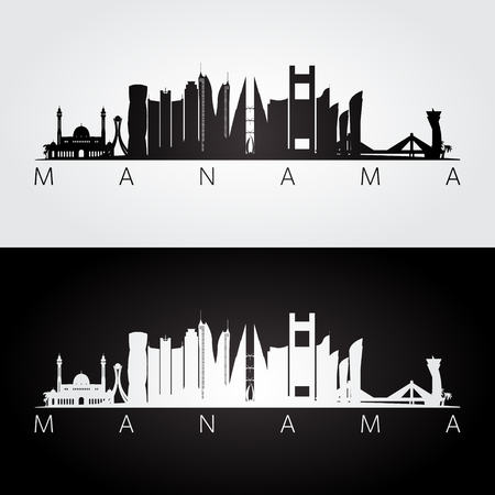 Manama skyline and landmarks silhouette, black and white design, vector illustration.