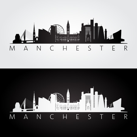 Manchester skyline and landmarks silhouette, black and white design, vector illustration.  イラスト・ベクター素材