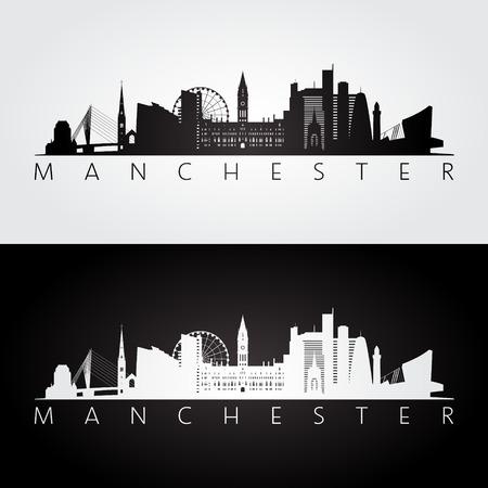 マンチェスターのスカイラインとランドマークのシルエット、黒と白のデザイン、ベクトル イラストです。