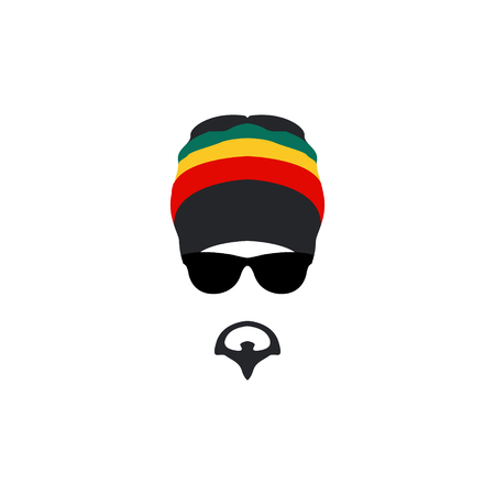 Man wearing rastafarian hat icon in flat style. Vector illustartion. Illustration