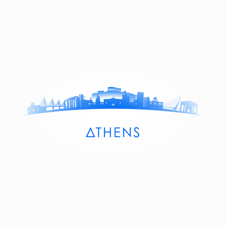 Athens, Greece skyline silhouette. Vector design city on white background. Ilustração