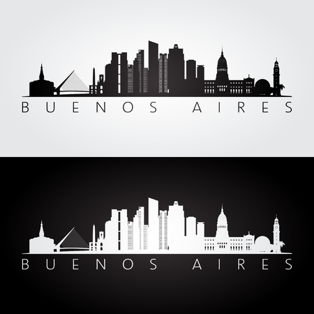 Buenos Aires skyline and landmarks silhouette, black and white design, vector illustration.
