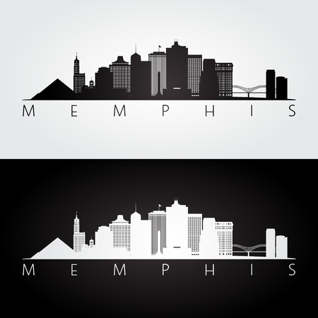 Memphis, USA skyline and landmarks silhouette, black and white design, vector illustration.  イラスト・ベクター素材