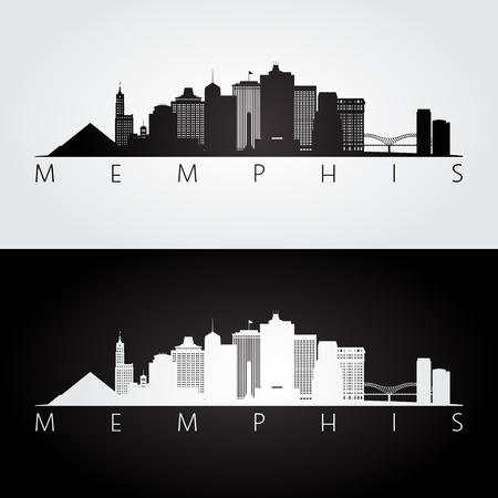 Memphis, USA skyline and landmarks silhouette, black and white design, vector illustration. Vettoriali