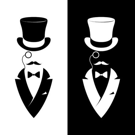 Club de caballeros de etiqueta vintage. Logotipo de Hipster. Ilustración vectorial