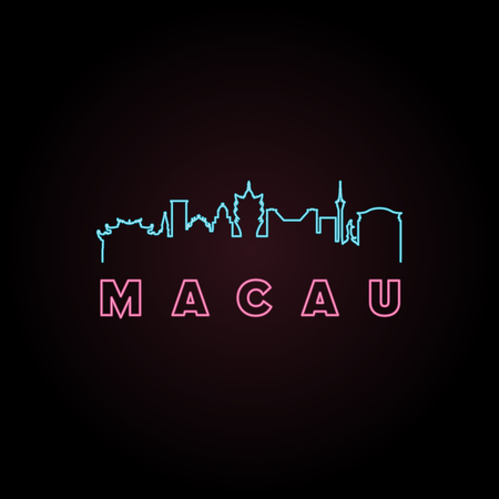 Macau skyline neon style. Vector illustration. Illustration