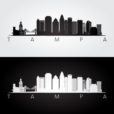 Tampa USA skyline and landmarks silhouette, black and white design, vector illustration.