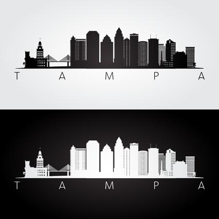 탬파 미국 스카이 라인 및 랜드 마크 실루엣, 흑인과 백인 디자인, 벡터 일러스트 레이 션.