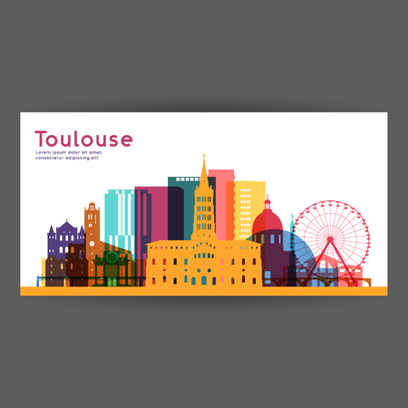 Toulouse colorful architecture vector illustration, skyline city silhouette, skyscraper, flat design.