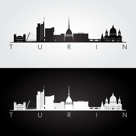 Turin skyline and landmarks silhouette, black and white design, vector illustration.