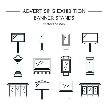 marquees: Advertising billboards and banner display, exhibition stands. Line icons set.