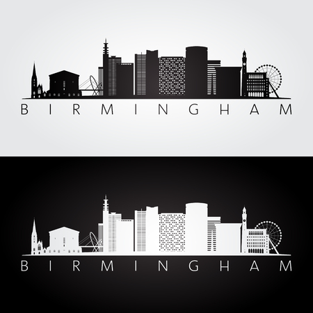 Birmingham skyline and landmarks silhouette, black and white design, vector illustration. Vettoriali