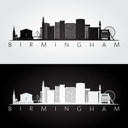 Birmingham skyline and landmarks silhouette, black and white design, vector illustration. Illustration