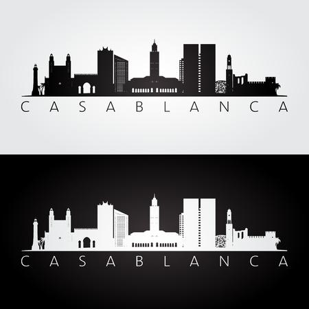 Casablanca skyline and landmarks silhouette, black and white design, vector illustration. Ilustracja